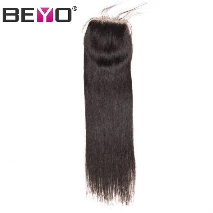 Beyo 4x4 cheveux humains droits fermeture libre/moyen/trois parties péruvien cheveux dentelle fermeture avec bébé cheveux 10-24 pouces Non Remy cheveux