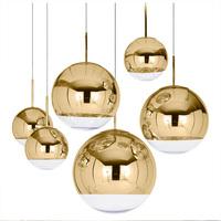 LukLoy Modern Dixon Style Mirror Glass Ball Pendant Lights Copper/Silver/Gold Globe Lamp Modern Kitchen Lighting Fixtures 1piece