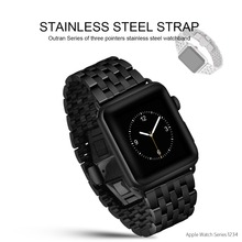 HOCO Metal Butterfly Buckle Wrist Strap for Apple Watch Series 4 3 2 1 Stainless Steel Watch Band for IWatch 42/44mm 38/40mm original hoco 316l stainless steel band for apple watch series 4 3 2 1 metal wrist strap 42 44mm watchband replacement bracelet