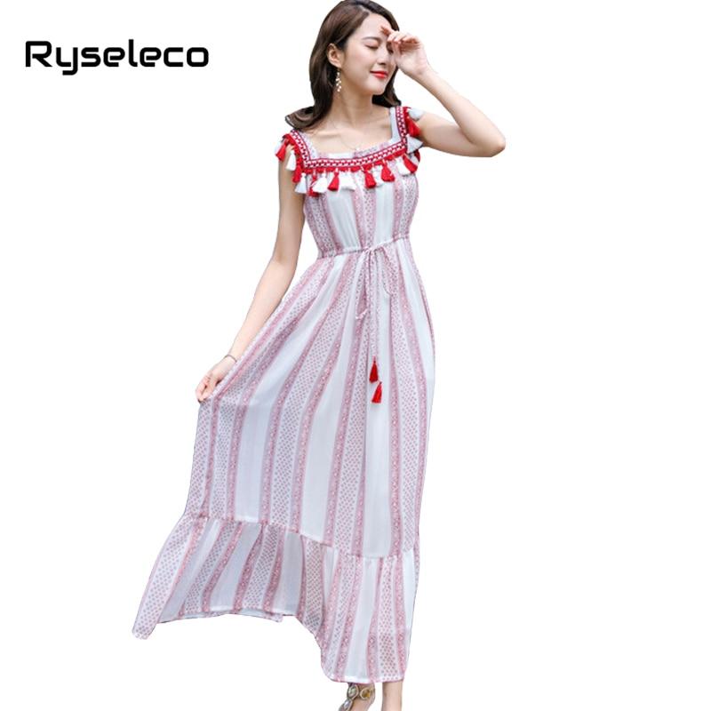 Ryseleco Fashion Lady Boho Striped Tassel Long Dresses Sweet Beach High Waist Lace Up Spaghetti Strap Chiffon Maxi Holiday Dress