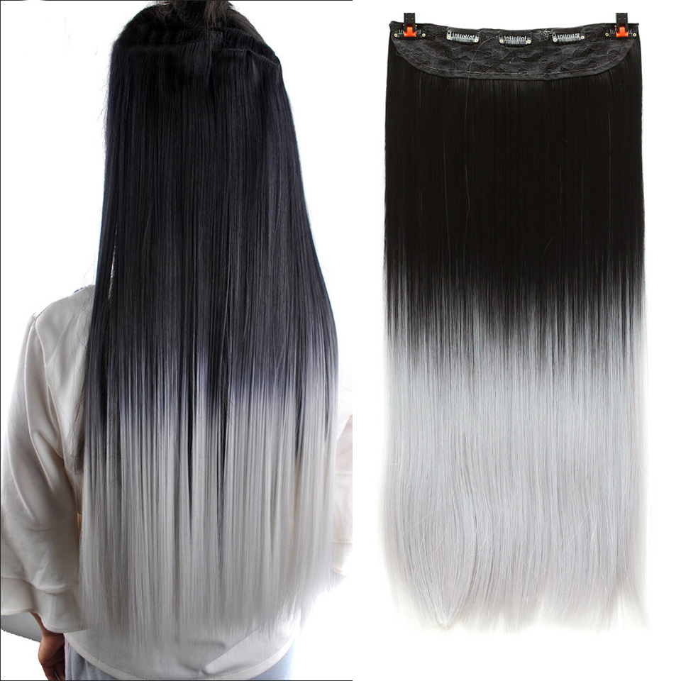 WTB Long Straight 5 Clip In Hair Extensions 3/4 Full Head Hairpieces Synthetic Natural Black to Grey Ombre Two Tones Fake Hair