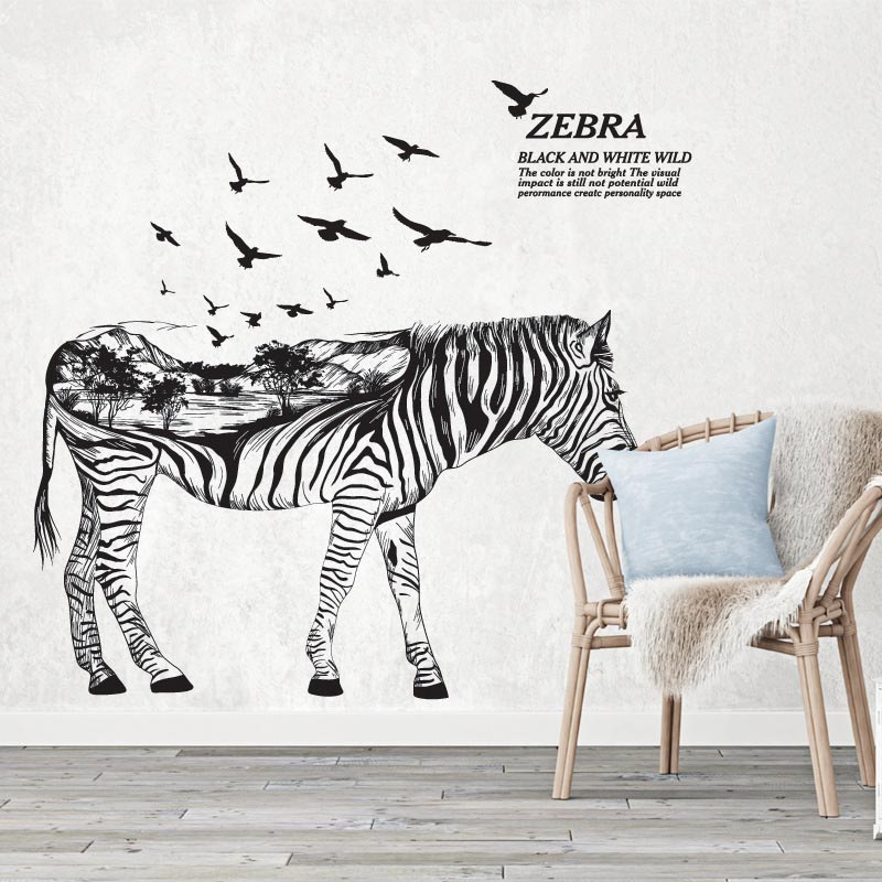 Pvc extraíble creativo negro blanco zebra salón papel tapiz de fondo etiqueta de