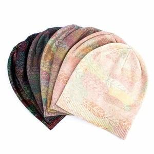 Image 5 - Geebro  Womens Bronzing Cashmere Beanies Hat Casual Spring Wool Knitted Hats Ladies Metal Multicolor Print Beanie Cap DQ414N