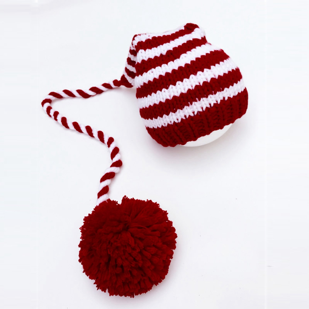 Baby knitting Long Tails Christmas Hat Newborn Photography Props Red White Stripe Crochet Baby Hats Baby Props For Fotografia in Hats Caps from Mother Kids