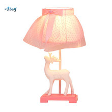 Girl Bedroom Deco White Deer Table Lamp Pink Lampshade for Dorm Room Study Cafe Led Table Lights Kids Bedside Lamp Holiday Gift(China)
