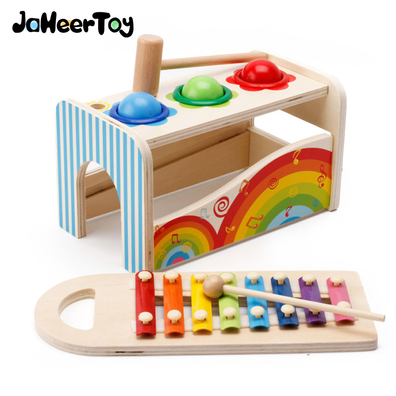 JaheerToy  Baby Wooden Percussion Toys Knock the Ball Piano Educational Toys for Children for Newborns 1-2-3 Years Old Kids jaheertoy montessori educational toy white cube wooden toys small blocks geometric assembling block for children for kids