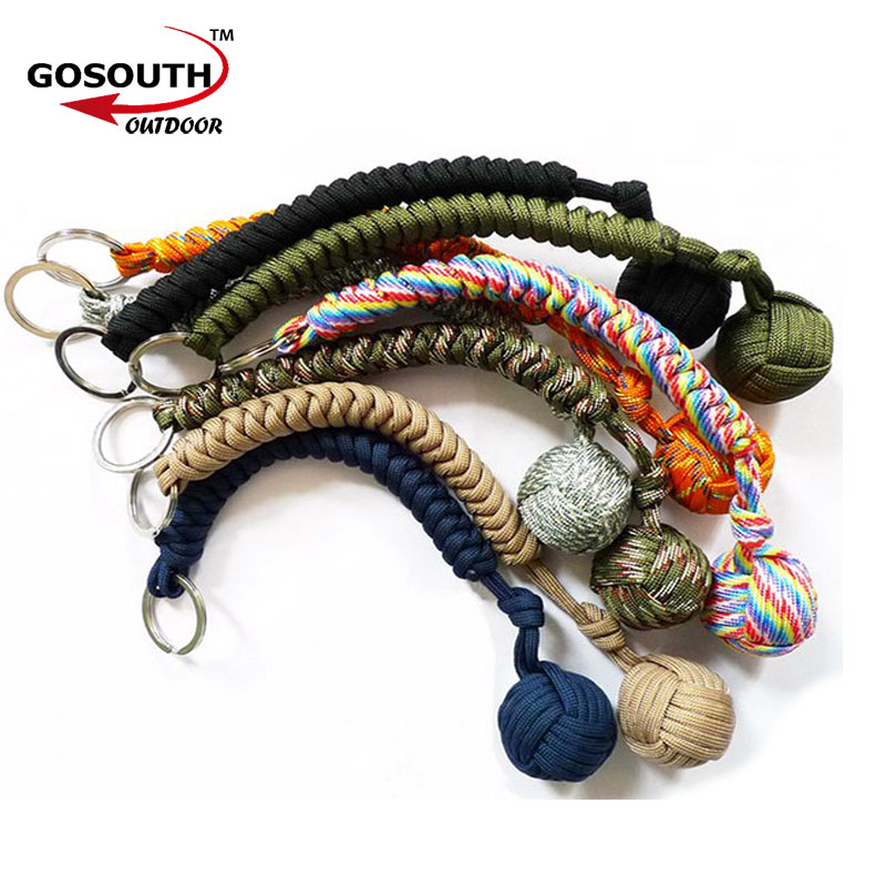 Strand Stainless Steel Ball Pendant Parachute Cord Keychain Key Ring  Survival Kits Outdoor Climbing Camping Umbrella c95d07280