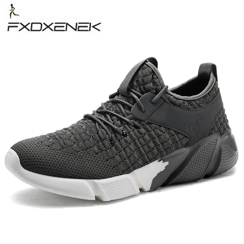 FXDXENEK Spring/Summer men Breathable sports shoes outdoor gray black Athletic Laces lightweight running shoes for male sneakers