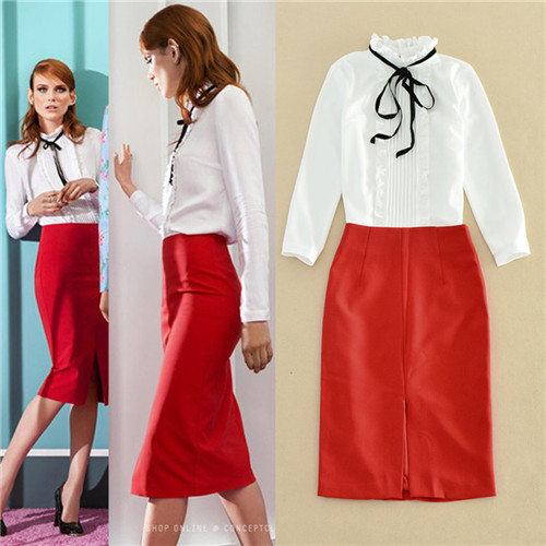 9c680d1bf6 2016 autumn forman office wear white blouses and red skirts suits set long  sleeve ruffle collar