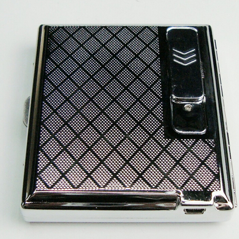 Cigarette Case Holder W Built in USB Flameless Electronic Rechargeable Lighter