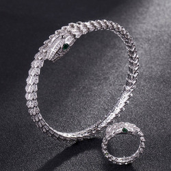 Fashion Women cubic Zircon Bangle And Ring Anniversary Jewelry Sets Statement Adjustable Snake bracelet Copper Bangles for Men