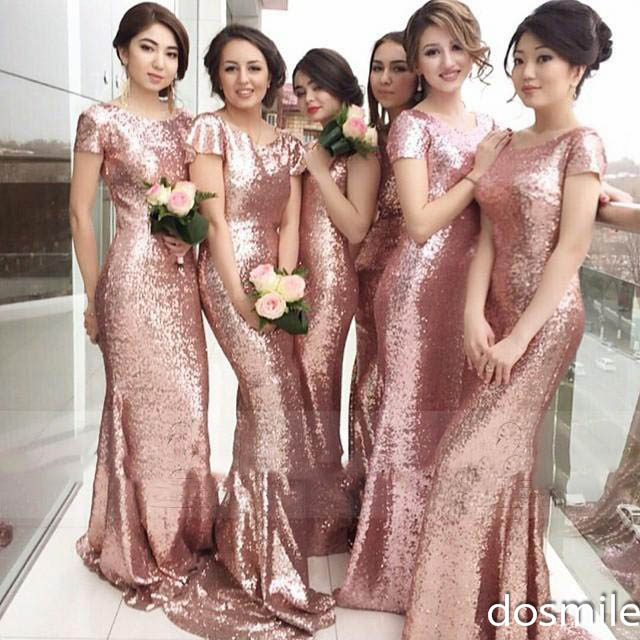 Rose Gold Cheap 2016 Mermaid Full Zipper Back Bridesmaid Dresses Sequins Plus Size Formal Wedding Gowns
