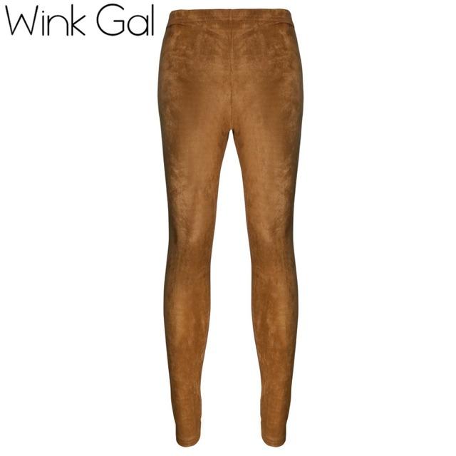 Wink gal 2016 otoño invierno pantalones de las mujeres faux suede faux pantalones de cuero leggings mujer pantalones pantalon femme d0077