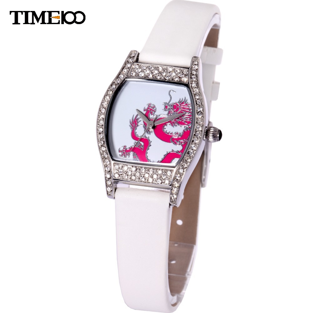 New TIME100 Ladies Quartz Watch Dragon Pattern Tonneau Diamond White Leather Strap Dress Watches For Women's relogio feminino