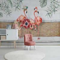 Carta da parati personalizzata Nordic piccole foglie fresche flamingo mattoni giardino decorazione della parete materiale impermeabile