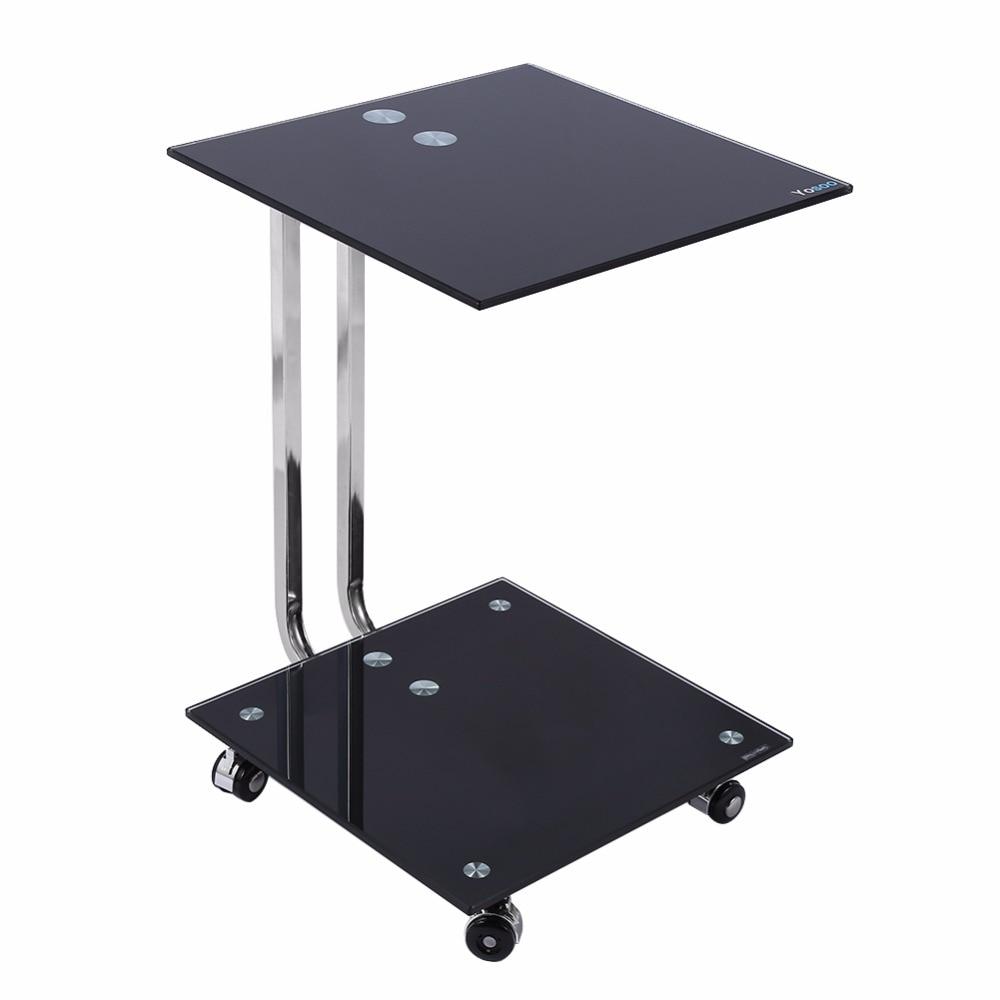 Modern black side table - Black Glass Laptop Stand Side Desk Sofa Side Table Portable Moveable 4 Wheels