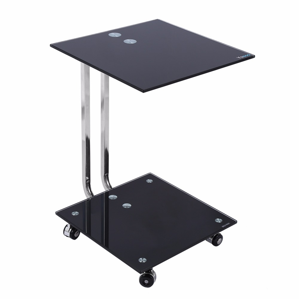 BLACK GLASS LAPTOP STAND SIDE DESK SOFA SIDE TABLE PORTABLE MOVEABLE 4  WHEELS