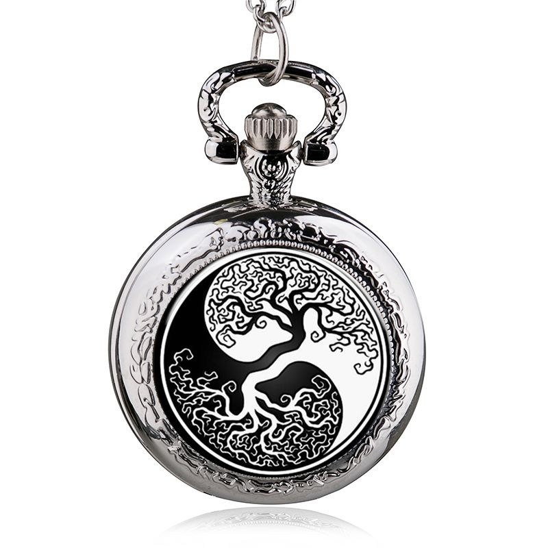 Fashion Silver Tree Of Life Quartz Pocket Watch Necklace Pendant Women Men Jewelry Watch шариковая ручка waterman hemisphere deluxe privee чернила синие 1971678