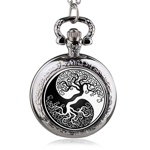 Fashion Silver Tree Of Life Quartz Pocket Watch Necklace Pendant Women Men Jewel