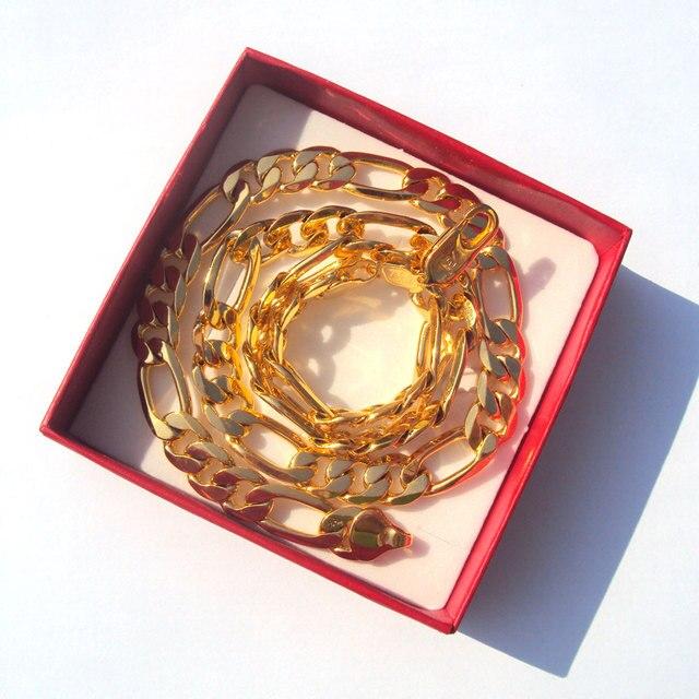 18 k sólido goldgf acabamento autêntico 18 k carimbado 10mm fino figaro corrente colar masculino feito em melhor 600mm 4