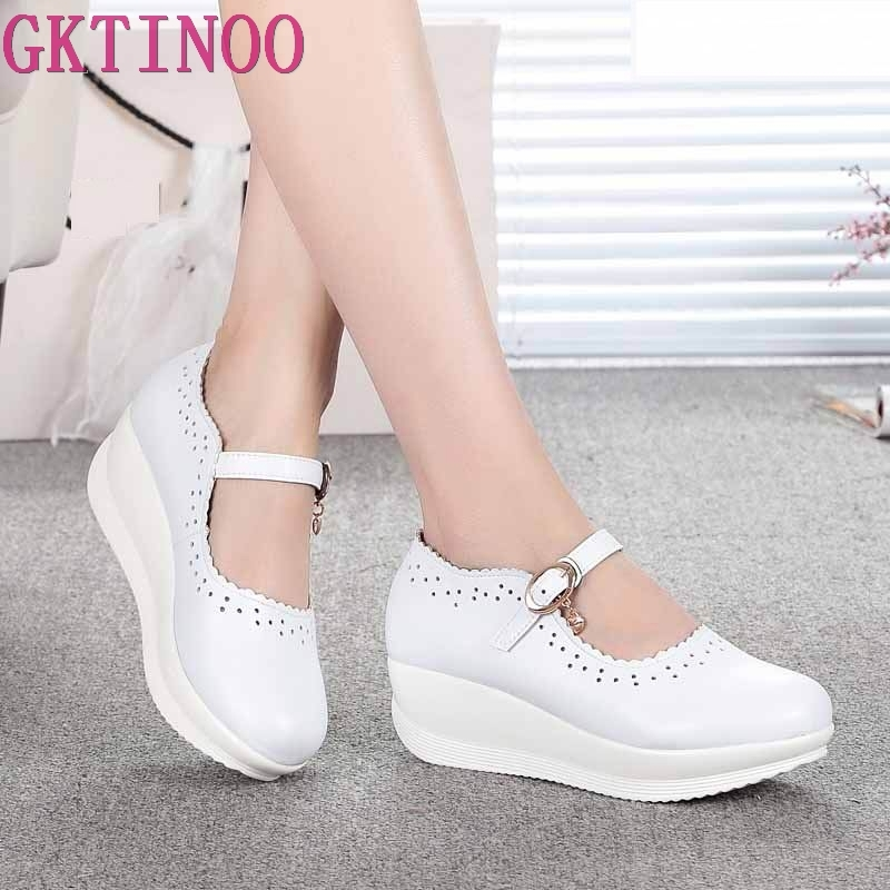 2019 Spring Real Leather Shoes High Heels Round Shallow Mouth Women Shoes Wedge Leisure White Nurse Mom Shoes Shoes Size 33-432019 Spring Real Leather Shoes High Heels Round Shallow Mouth Women Shoes Wedge Leisure White Nurse Mom Shoes Shoes Size 33-43