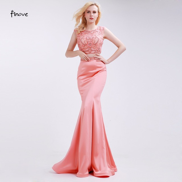 bfb2e0d14d2 Finove Light Orange Evening Dresses Mermaid Beading Two-Piece Set 2018 New  Sleeveless Lace Crop Top Floor Length Prom Dresses
