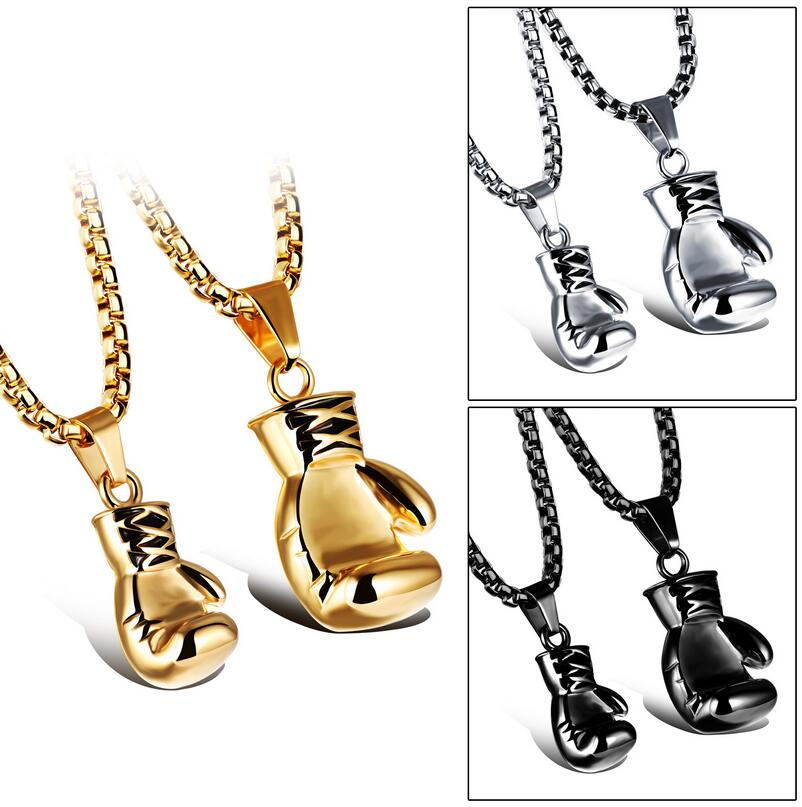 Fashion Mini Boxing Glove Necklace Gold/Black/Silver Plated Boxing Jewelry Stainless Steel Cool Pendant For Men Boys Gift GX1018