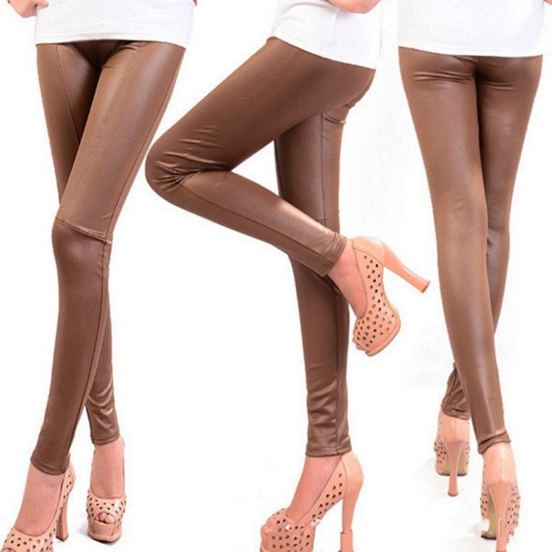 WJ Atumn Winter Korean Fashion Faux Leather Trousers Women New Sexy Skinny PU Leggings Pants Pantalon Femme 2017