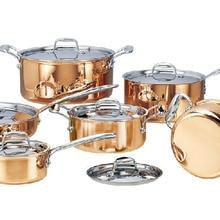 Кухонные инструменты DHL из нержавеющей стали медные кастрюли для приготовления пищи с сковородкой чайник из нержавеющей стали горячий горшок и сковородки набор посуды