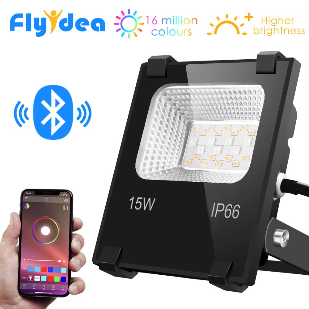 Smart Floodlight LED Outdoor Light RGB 15W Bluetooth4.0 360° APP Group Control IP66 Garden Waterproof Color Changing Spotlight