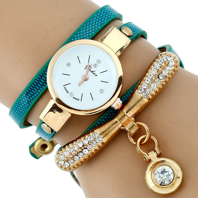 2018 Gorgeous Gnova Platinum Fashion Luxury Brand New Women Rhinestone Gold Bracelet Watch Pu Leather Ladies Quartz Casual Wristwatch Online