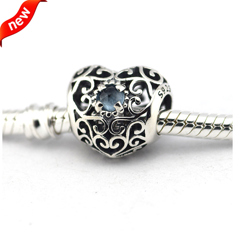 69467c84a9005 US $14.75 18% OFF|Fits For Pandora Bracelets September Signature Heart  Charms with Sapphire 100% 925 Sterling Silver Bead Free Shipping-in Beads  from ...