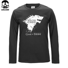 Top quality long sleeve game of thrones print T shirt for men fashion winter is coming design cotton o neck men tshirt 2016