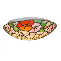 European Retro Butterfly Flowers Pattern Ceiling Light 12/16 Inch Stained Glass Tiffany Style Hanging Lamp Lighting Fixture C290