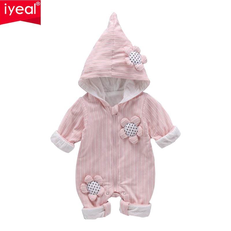 IYEAL New Fashion Hooded Autumn Winter Long Sleeve Baby Clothes Baby Girl Overalls Newborn One Piece Romper Girl Clothes baby clothes spring autumn hooded pikachu overalls infant romper jumpsuits newborn baby boy girl clothes