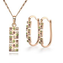 2017 Hot sale jewelry set CC color Rhinestone Crystal Gold Color Factory price Necklace&earring. women female ladies best gift