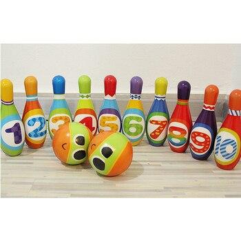 PU Katoen Gift Grappige Huis Sport Zachte Spelletjes Spelen Voorschoolse Foam Kids Bowling Set Kinderen Indoor Mini Speelgoed