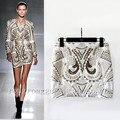Primavera e no verão as mulheres bordado de ouro moda barroca de metal beading saia a - linha saia das mulheres