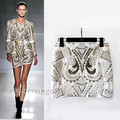 Spring and summer women gold embroidery fashion baroque metal beading skirt a-line women skirt