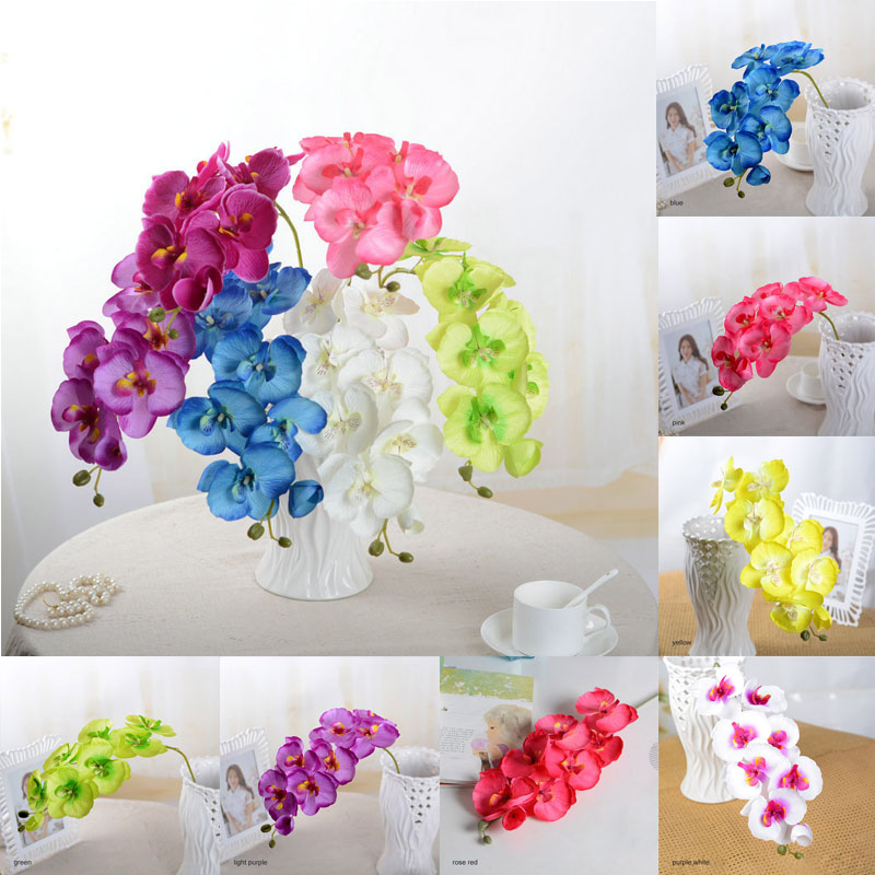 US Artifical Silk Butterfly Orchid Wedding Home Party Phalaenopsis Flowers Decor
