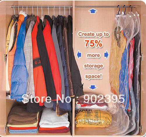 Free Shipping 105*70 5pcs/lot Home using  Hanging Vacuum Seal Compressed Space Saving Storage Bag With Hanger