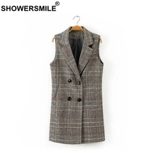 RAINIE SEAN Check Plaid Coat Women Double Breasted Long Vests Waistcoat Female Spring Tartan England Style Sleeveless Jackets