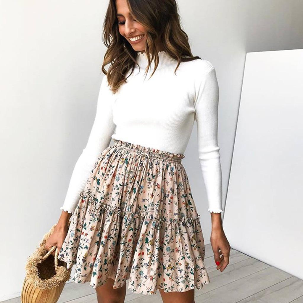 New Faldas Mujer Moda 2019 Women Casual Retro High Waist Print Design Evening Party Short Skirt Jupe Femme Harajuku Gothic #C