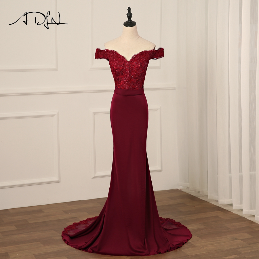 ADLN Sexy Burgundy Evening Dress Backless Long Evening Dresses Mermaid Lace Beading Bride Banquet Party Prom