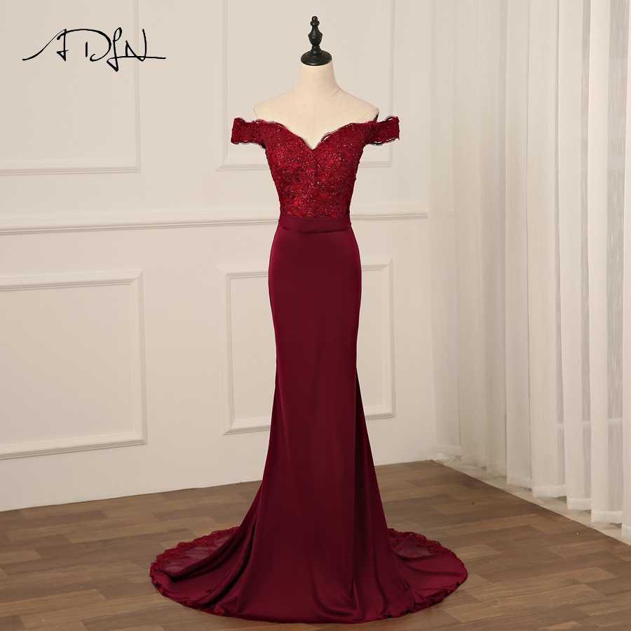 fac68fa4c29 ADLN Sexy Бургундия вечернее платье с открытой спиной Длинные вечерние  платья Русалка Кружева Бисер банкет невесты