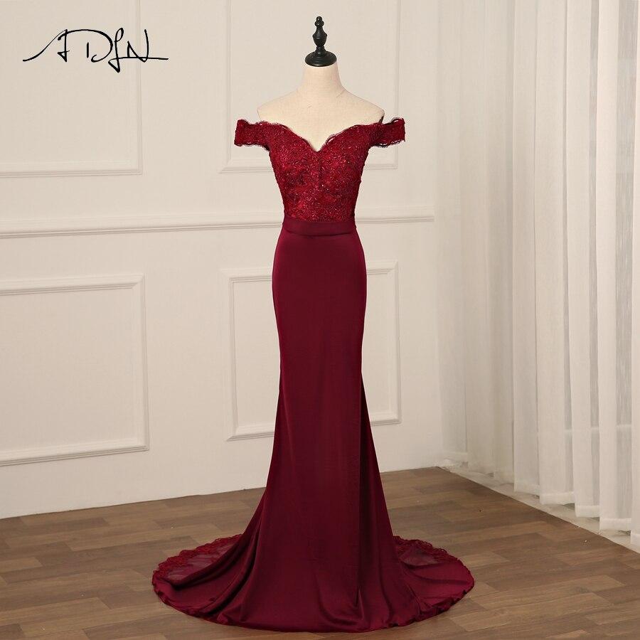ADLN Sexy robe de soirée bordeaux dos nu longues robes de soirée sirène dentelle perles mariée Banquet fête robe de bal