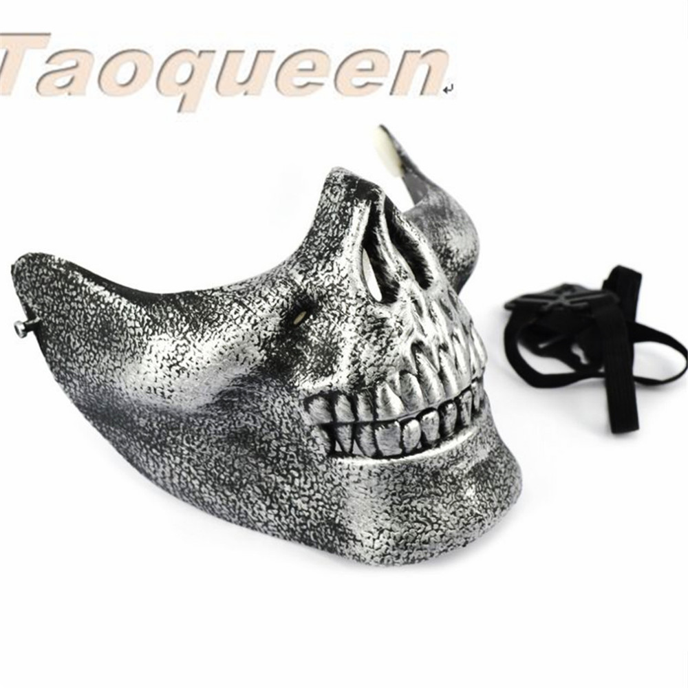 Cartoon Hat  Taoqueen  Scary Skull Skeleton Mask Halloween Costume Half Face Masks For Party Cartoon Hat