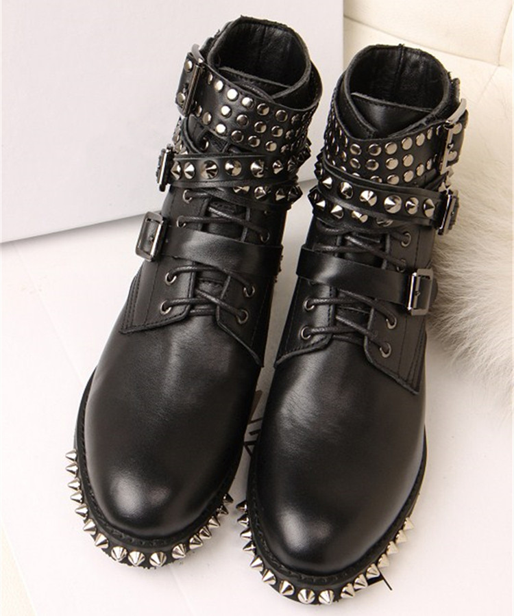 British Spring Autumn Genuine Leather Round Toe Flat Boot Women Tactical Boots Rivets Belt Buckle Martin Shoes Australian Botte british design mens casual mid calf martin punk motorcycle high boots rivets spring autumn genuine leather shoes lace up zapatos