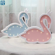 Wooden Swan Led Night Light Children Room Wall Decoration Kids Bedside Nordic Style Cartoon Wall Lamp Enfant Bedroom Home(China)