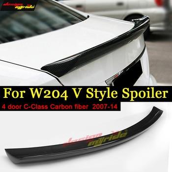 For Mercedes C-Class W204 C204 S204 4-Door Rear Trunk Spoiler Duckbill Wing C63 Style Carbon Fiber No Drill C180 C200 C250 07-14